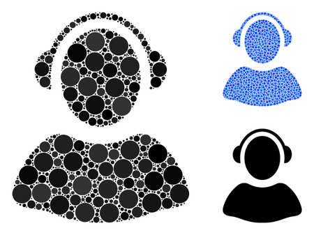 Operator mosaic of filled circles in different sizes and color tinges, based on operator icon. Vector small circles are united into blue mosaic. Dotted operator icon in usual and blue versions. Иллюстрация