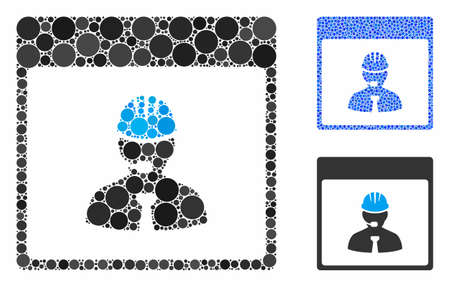 Engineer calendar day mosaic of filled circles in variable sizes and shades, based on engineer calendar day icon. Vector small circles are composed into blue mosaic.
