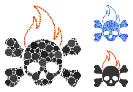Death fire composition of small circles in various sizes and color hues, based on death fire icon. Vector small circles are grouped into blue mosaic. Dotted death fire icon in usual and blue versions.