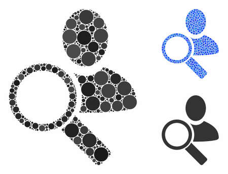 Find user mosaic of circle elements in different sizes and color tints, based on find user icon. Vector circle elements are organized into blue mosaic. Foto de archivo - 133434542