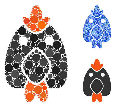 Chicken composition of circle elements in different sizes and color tinges, based on chicken icon. Vector circle elements are organized into blue mosaic. Illustration
