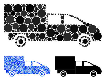 Cargo mosaic of round dots in variable sizes and color tinges, based on cargo icon. Vector round dots are organized into blue collage. Dotted cargo icon in usual and blue versions. Stok Fotoğraf - 133434551