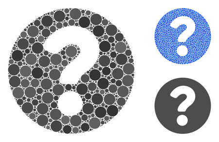 Question composition of small circles in different sizes and shades, based on question icon. Vector small circles are composed into blue collage. Dotted question icon in usual and blue versions.