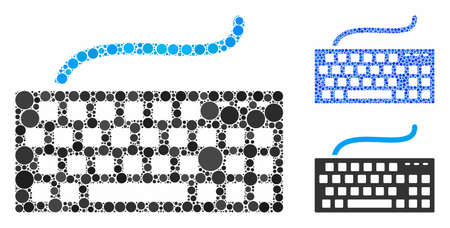 Computer keyboard mosaic of circle elements in variable sizes and color hues, based on computer keyboard icon. Vector circle elements are united into blue illustration.