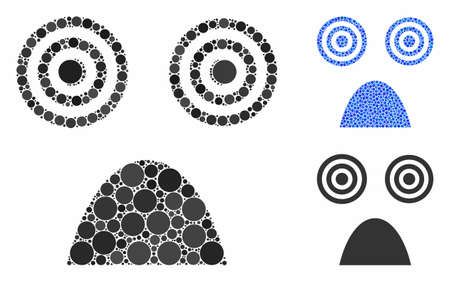 Horror smiley mosaic of small circles in different sizes and color tinges, based on horror smiley icon. Vector small circles are organized into blue mosaic.