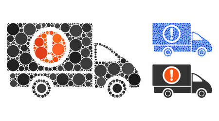 Dangerous truck mosaic of filled circles in variable sizes and color tinges, based on dangerous truck icon. Vector random circles are combined into blue mosaic.