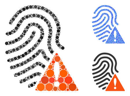Wrong fingerprint composition of small circles in variable sizes and shades, based on wrong fingerprint icon. Vector small circles are combined into blue composition. Ilustrace