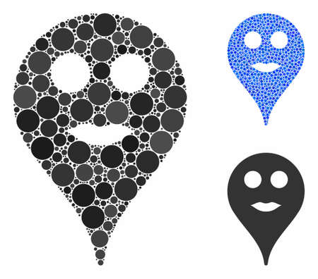 Lips smiley map marker mosaic of small circles in variable sizes and shades, based on lips smiley map marker icon. Vector small circles are combined into blue composition. Ilustrace