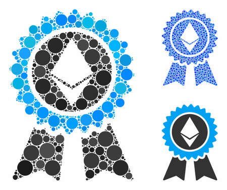 Ethereum reward seal composition of round dots in variable sizes and color tinges, based on Ethereum reward seal icon. Vector round dots are grouped into blue collage.