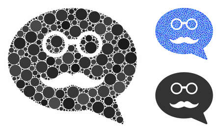 Grandfather smiley message composition of round dots in different sizes and color tinges, based on grandfather smiley message icon. Vector dots are combined into blue composition.