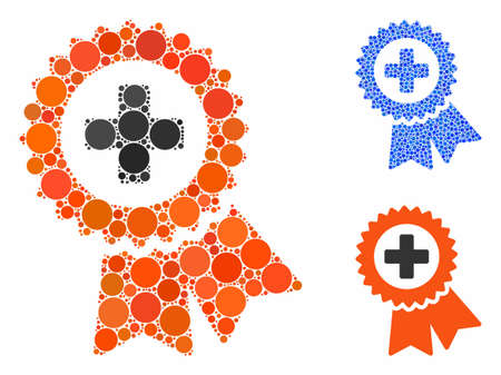 Medical quality seal composition of filled circles in various sizes and color tints, based on medical quality seal icon. Vector filled circles are organized into blue composition. Ilustração