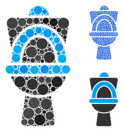 Toilet pan composition of small circles in various sizes and color tints, based on toilet pan icon. Vector small circles are combined into blue illustration.