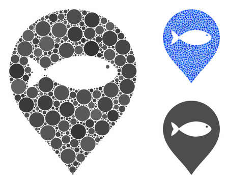 Fish marker mosaic of small circles in different sizes and color hues, based on fish marker icon. Vector small circles are organized into blue collage.