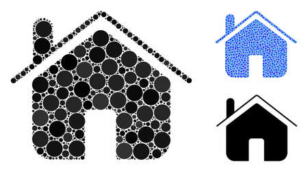 Home mosaic of small circles in various sizes and color tints, based on home icon. Vector small circles are grouped into blue illustration. Dotted home icon in usual and blue versions.