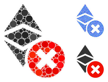 Wrong Ethereum classic mosaic of round dots in various sizes and color hues, based on wrong Ethereum classic icon. Vector dots are combined into blue mosaic.