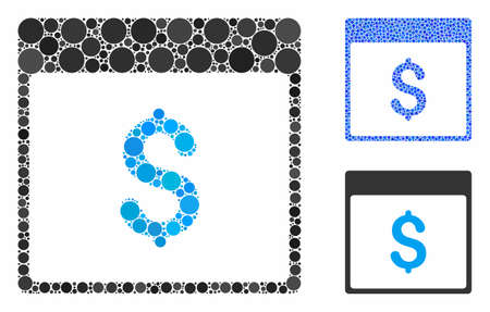 Dollar currency calendar page mosaic of round dots in variable sizes and color tones, based on dollar currency calendar page icon. Vector round dots are united into blue composition.