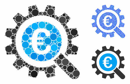 Euro search options composition of circle elements in variable sizes and color tints, based on Euro search options icon. Vector circle elements are grouped into blue illustration. Banque d'images - 133434589