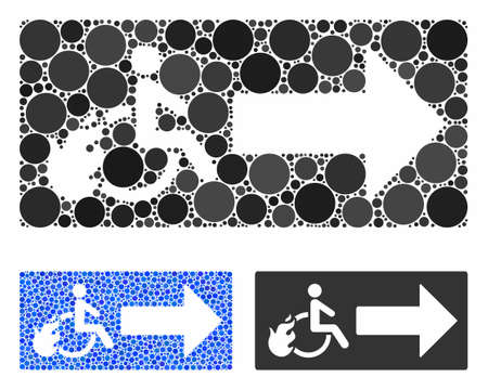 Patient exit composition of small circles in variable sizes and color tints, based on patient exit icon. Vector small circles are united into blue collage.