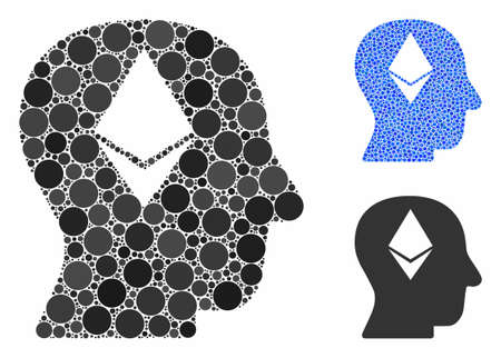 Ethereum thinking head mosaic of filled circles in different sizes and color tints, based on Ethereum thinking head icon. Vector dots are united into blue mosaic.