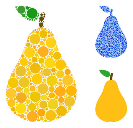 Pear mosaic of round dots in variable sizes and color tints, based on pear icon. Vector round elements are grouped into blue mosaic. Dotted pear icon in usual and blue versions.