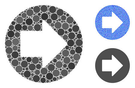 Right arrow mosaic of filled circles in variable sizes and color hues, based on right arrow icon. Vector filled circles are composed into blue illustration.