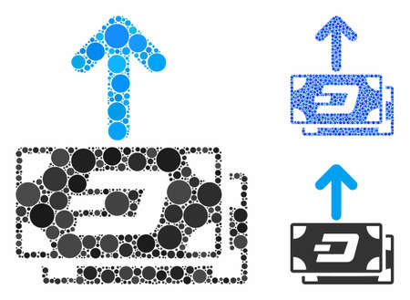 Dash banknotes pay out mosaic of small circles in different sizes and color hues, based on Dash banknotes pay out icon. Vector small circles are grouped into blue illustration.