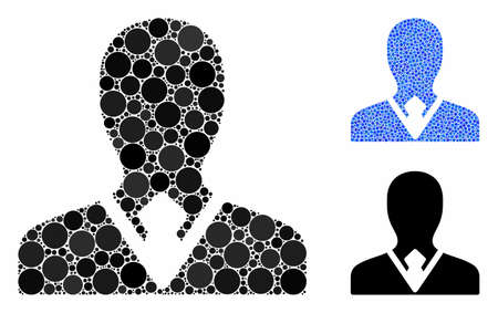 Manager mosaic of round dots in variable sizes and color tones, based on manager icon. Vector round dots are composed into blue composition. Dotted manager icon in usual and blue versions.