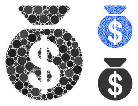 Money bag mosaic of small circles in different sizes and color tones, based on money bag icon. Vector small circles are composed into blue composition.