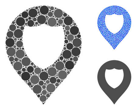 Shield marker mosaic of circle elements in different sizes and shades, based on shield marker icon. Vector circle elements are united into blue mosaic. Ilustração
