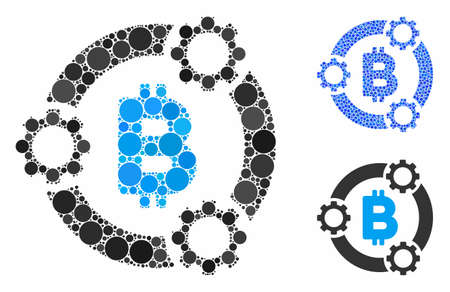 Bitcoin pool collaboration composition of filled circles in various sizes and shades, based on Bitcoin pool collaboration icon. Vector filled circles are composed into blue composition.