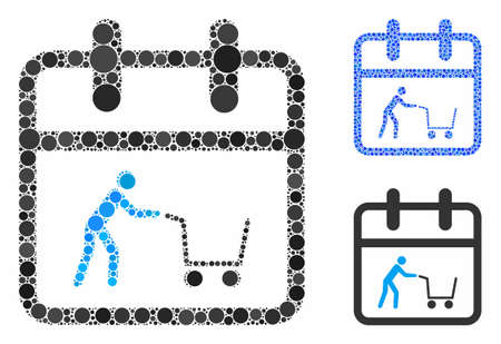 Shopping day composition of circle elements in various sizes and color hues, based on shopping day icon. Vector circle elements are grouped into blue composition.