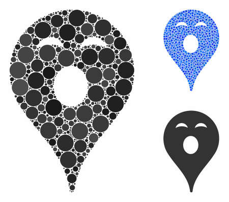 Sleepy smiley map marker mosaic of small circles in different sizes and color tinges, based on sleepy smiley map marker icon. Vector dots are organized into blue mosaic.
