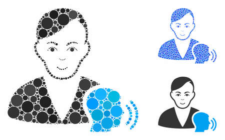 Psychoanalysis talking composition of circle elements in different sizes and color hues, based on psychoanalysis talking icon. Vector circle elements are grouped into blue collage.
