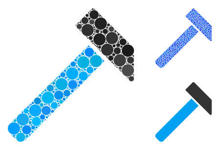 Hammer composition of spheric dots in different sizes and color tinges, based on hammer icon. Vector random circles are combined into blue composition. Dotted hammer icon in usual and blue versions. Illusztráció