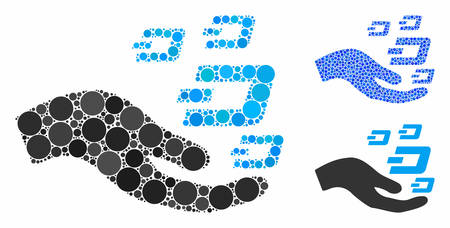 Hand offer Dash symbols mosaic of round dots in various sizes and color tints, based on hand offer Dash symbols icon. Vector dots are organized into blue mosaic.