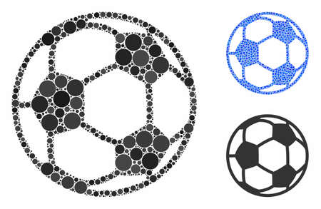 Football ball mosaic of circle elements in different sizes and color hues, based on football ball icon. Vector circle elements are united into blue collage.