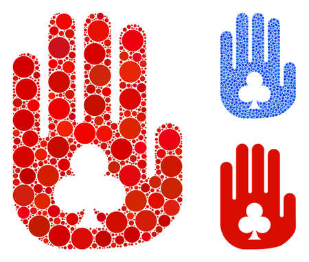 Stop gambling hand mosaic of filled circles in various sizes and color tinges, based on stop gambling hand icon. Vector filled circles are grouped into blue illustration. Ilustrace