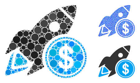 Dollar rocket mosaic of round dots in various sizes and color hues, based on dollar rocket icon. Vector round dots are grouped into blue mosaic. Dotted dollar rocket icon in usual and blue versions.