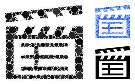 Movie clap mosaic of small circles in variable sizes and color tints, based on movie clap icon. Vector small circles are grouped into blue mosaic. Dotted movie clap icon in usual and blue versions.