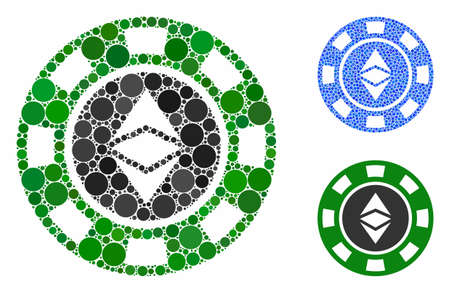 Ethereum casino chip composition of filled circles in variable sizes and color tints, based on Ethereum casino chip icon. Vector filled circles are grouped into blue mosaic. Stock Illustratie