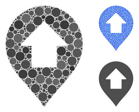 Forward up arrow marker composition of filled circles in different sizes and shades, based on forward up arrow marker icon. Vector filled circles are composed into blue composition.