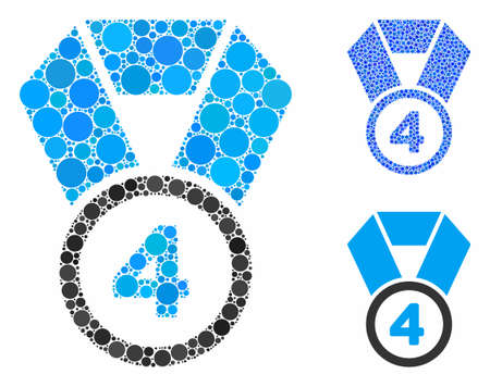 4th place medal composition of small circles in various sizes and shades, based on 4th place medal icon. Vector filled circles are grouped into blue composition.