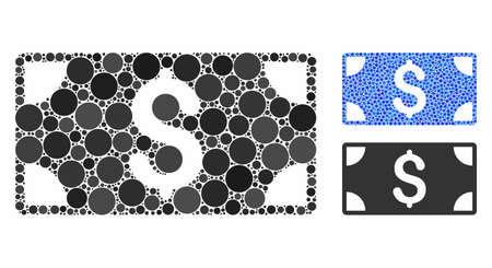 Dollar banknote composition of small circles in different sizes and color tones, based on dollar banknote icon. Vector filled circles are combined into blue composition.