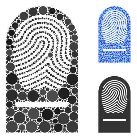 Finger print mosaic of filled circles in different sizes and color tints, based on finger print icon. Vector random circles are organized into blue mosaic. Illusztráció