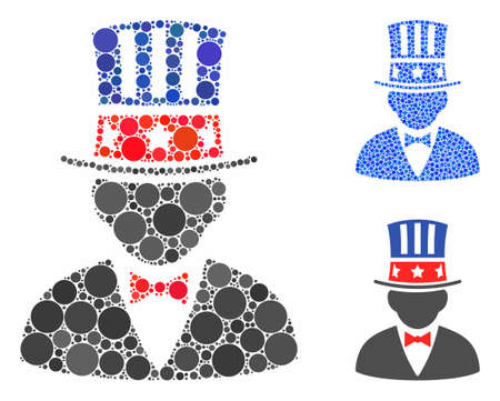 Capitalist composition of round dots in various sizes and color tints, based on capitalist icon. Vector round dots are composed into blue collage. Dotted capitalist icon in usual and blue versions.