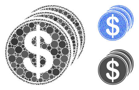 Dollar coins mosaic of circle elements in different sizes and color tints, based on dollar coins icon. Vector circle elements are composed into blue mosaic.