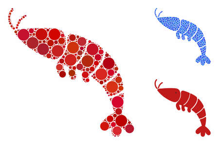Shrimp mosaic of spheric dots in variable sizes and color tints, based on shrimp icon. Vector round dots are united into blue mosaic. Dotted shrimp icon in usual and blue versions.
