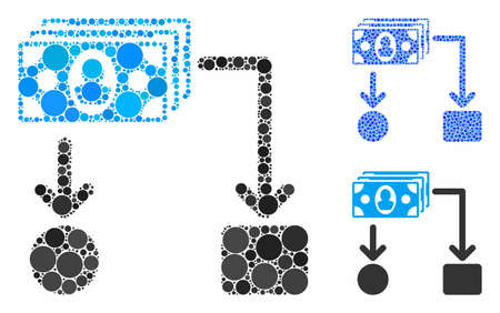 Cashflow mosaic of round dots in different sizes and color hues, based on cashflow icon. Vector round dots are grouped into blue mosaic. Dotted cashflow icon in usual and blue versions.