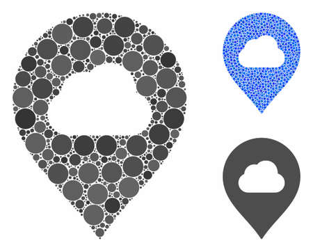 Fog cloud marker composition of filled circles in variable sizes and color tinges, based on fog cloud marker icon. Vector filled circles are combined into blue illustration.