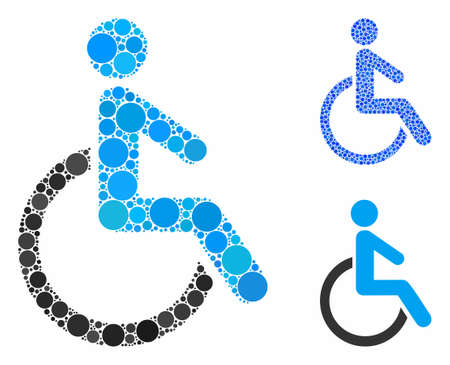 Disabled person composition of circle elements in various sizes and color tints, based on disabled person icon. Vector round elements are united into blue composition.